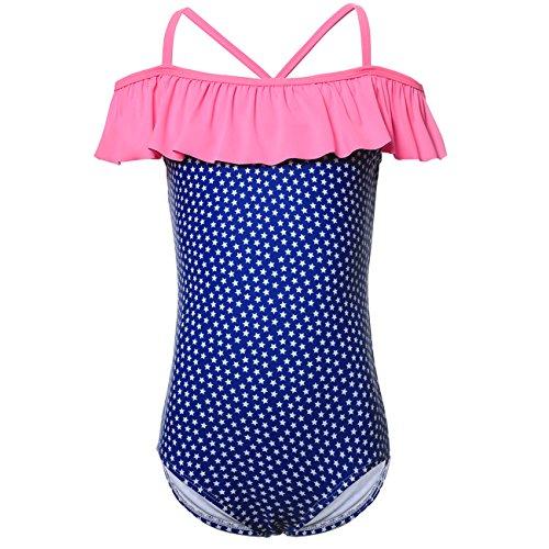 DAYU Little Girls Starry Print Navy Swimwear Swim Suit