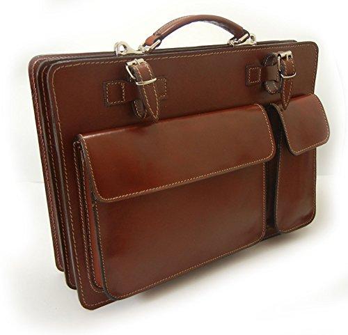 G&G PELLETTERIA - Bolso de asas de Piel para hombre marrón