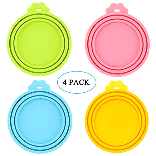 IVIA Pet Food Can Lids, Universal BPA Free Silicone Can Lids Covers for Dog and Cat Food, One Can Cap Fit Most Standard Size Canned Dog Cat Food(4 Pack Multicolor (Cat Food Tent)