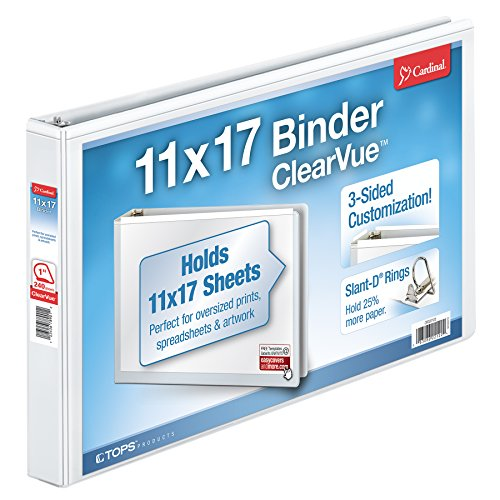 Cardinal 11-Inch x 17-Inch ClearVue Slant-D Ring Binder, 1-I
