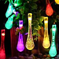 Solar Outdoor String Lights, Vellio Shine 20ft 30 LED Water Drop Solar String Fairy Waterproof Lights Christmas Lights Solar Powered String lights for Garden, Patio, Yard, Home, Christmas Tree, Parties
