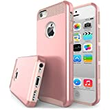 iPhone 5S Case, J.west TPU Hybrid Dual Layer Armor Defender Full Body Protective Shock- Absorption Case for iPhone 5 / 5s / SE - Rose Gold&Rose Gold