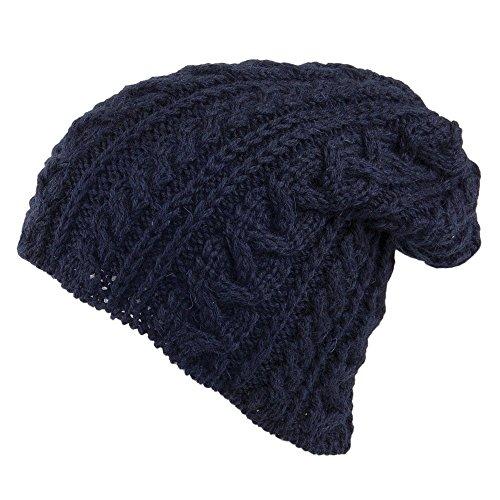 Azul de de 2000 Marino inglesa Marino tejido Oversized lana Highland Village Gorro Azul Hats Ipqv6v