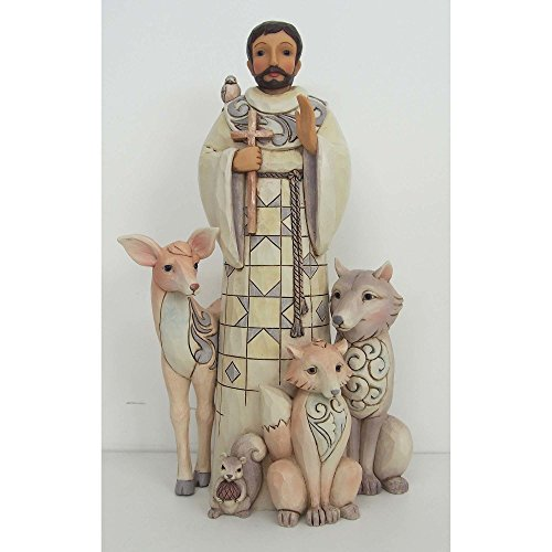 Enesco Heartwood Creek White Woodland St. Francis Stone Resin Figurine,