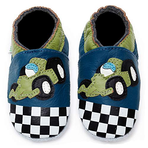 - Momo Baby Boys Soft Sole Leather Shoes - Race Car (0-6 Months) Navy