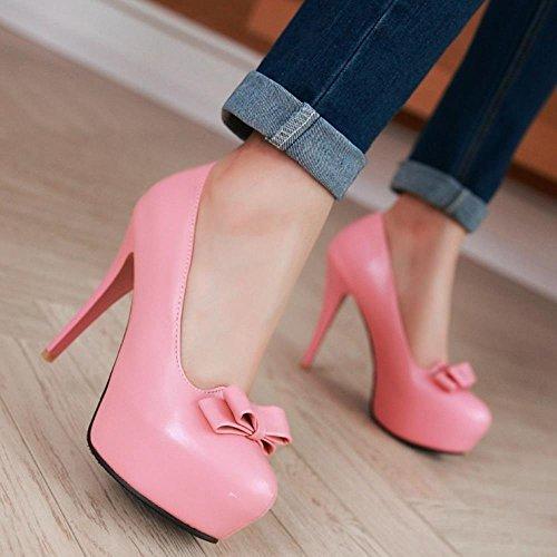 COOLCEPT Mujer Moda Tacon De Aguja Tacon Alto Bombas Zapatos Sin Cordones with Corbata De Mono Extra Sizes Rosado