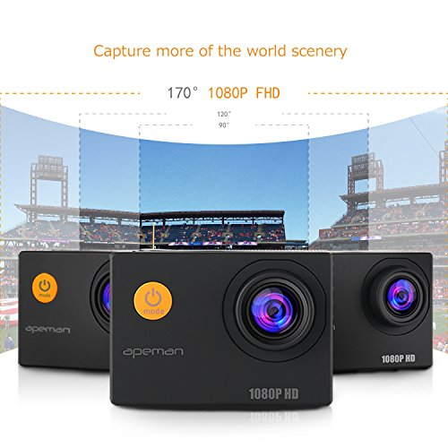 APEMAN-Action-Camera-12-MP-Full-HD-1080P-Waterproof-Underwater-Cam-with-170-Wide-Angle-LensRechargeable-BatteryWaterproof-Casecarrying-bag