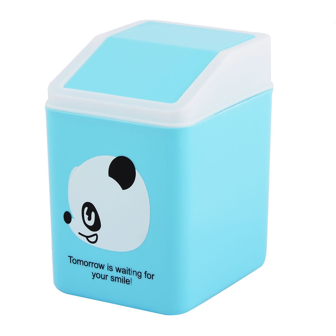 uxcell Panda Pattern Plastic Home Bedroom Seedcase Rubbish Waste Garbage Bin Can Blue SYNCFHK005397