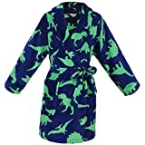 Simplicity Kid's Soft Dinosure Printed Fleece Kimono Robe Bathrobe, Dinosure,M