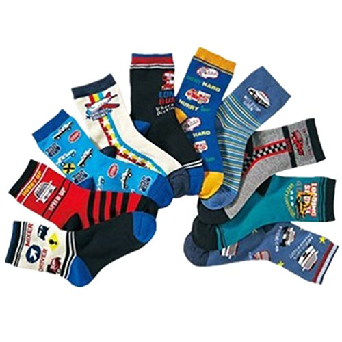 Boys Socks Kids Assorted Designs Police Car Print Crew Cotton Socks 10 Pairs ()