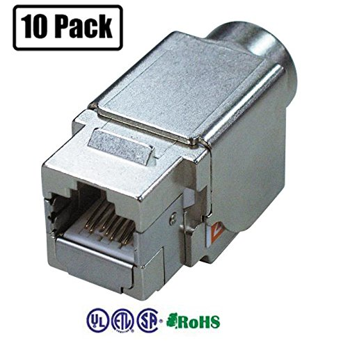 Infinity Cable Shielded Metal Cat6A RJ45 Keystone Jack 8P8C 180 Degree T568A/B (10 PACK)