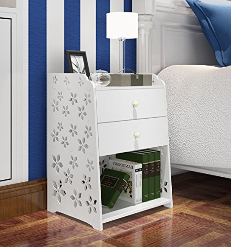 MYBESTFURN Large Size 2 Drawer Nightstand Modern Jane White Bed End Cabinet Multifunctional Storage Cabinet Bed End Table Waterproof Fireproof Furniture – 2 Drawer 40X31.5X55CM MB256C
