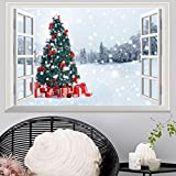 Tools & Hardware : Highpot 3D Fake Windows Wall Stickers Removable Faux Windows Wall Decal Christmas Wall Sticker (B)
