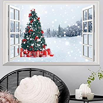 Highpot 3D Fake Windows Wall Stickers Removable Faux Windows Wall Decal  Christmas Wall Sticker (B