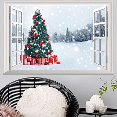 Highpot 3D Fake Windows Wall Stickers Removable Faux Windows Wall Decal Christmas Wall Sticker - Wall Christmas Decals