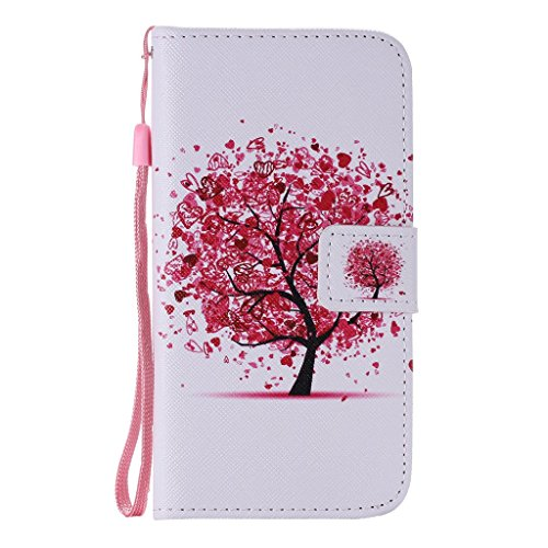 SZYT Phone Case for Samsung Galaxy S7 G930F, 5.1 inch, PU Leather Flip Cover with Handle, Heart Shaped Pink Leaves Tree
