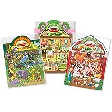 Melissa & Doug Puffy Sticker Activity Books Set - Farm, Safari, and Chipmunk
