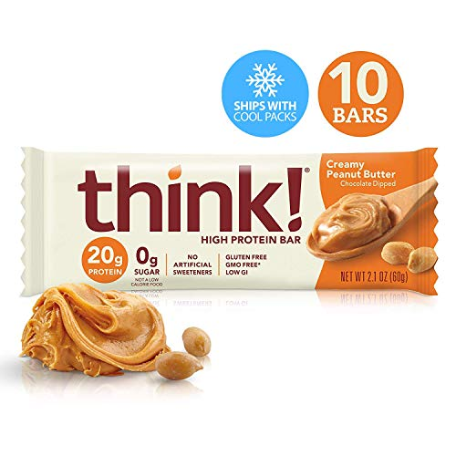 Think! (thinkThin) High Protein Bars - Creamy Peanut Butter, 20g Protein, 0g Sugar, No Artificial Sweeteners, Gluten Free, GMO Free*, 2.1 oz bar (10Count - Packaging May Vary) ()