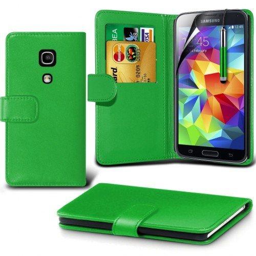 Samsung Galaxy S5 mini Cubierta del caso con cuero (Verde) Plus de regalo libre, Protector de pantalla y un lápiz óptico, Solicitar ahora mejor caja del teléfono Valorado en Amazon! By FinestPhoneCase