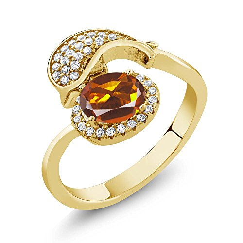 1.96 Ct Orange Red Madeira Citrine 18K Yellow Gold Plated Silver Dolphin Ring