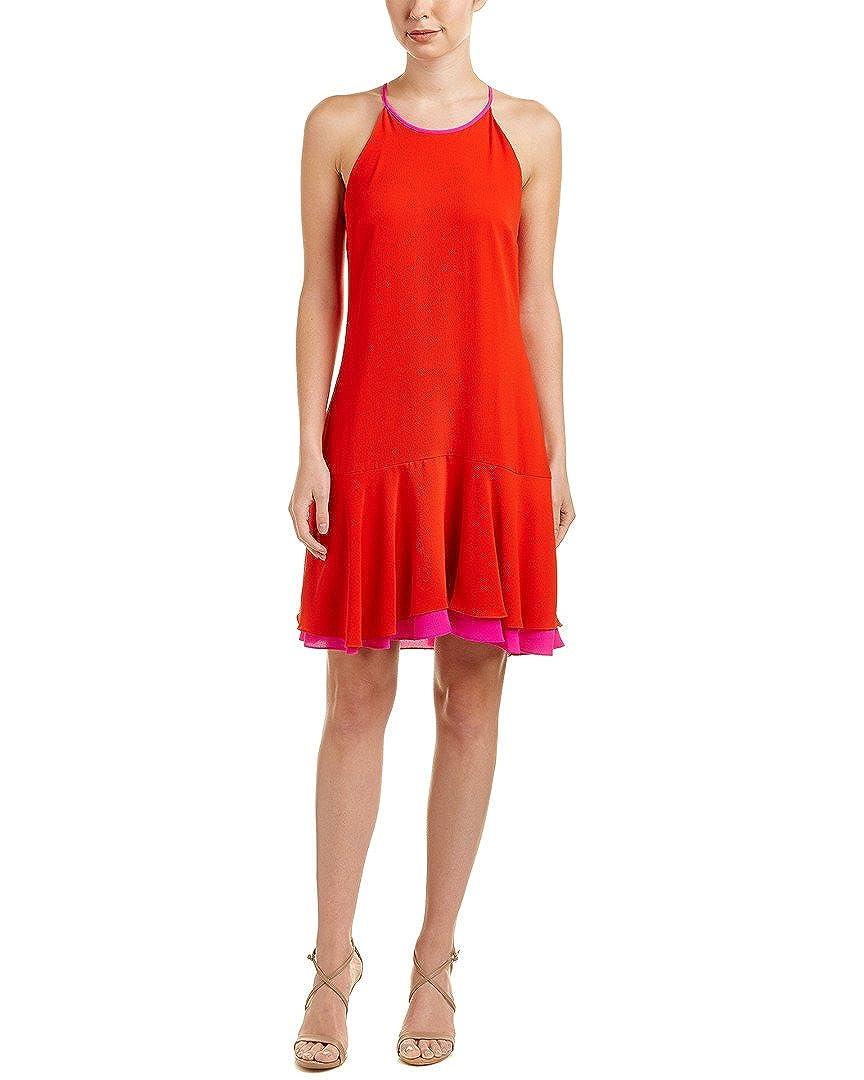 adf7eed460c Vince Camuto Womens Sleeveless Halter Color Blocked Ruffle Hem Dress at  Amazon Women s Clothing store