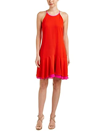 Vince Camuto Womens Sleeveless Halter Color Blocked Ruffle Hem Dress Red  Hot 4 One Size 9a61153c8b