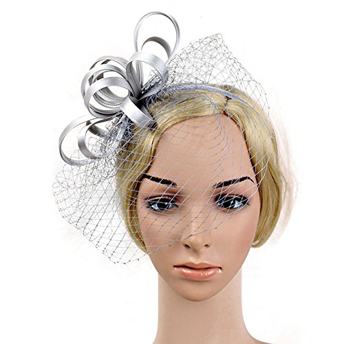 Djhbuy Women Fascinator Bow Net Veils Hair Clip Mini Top Headpiece Wedding Party