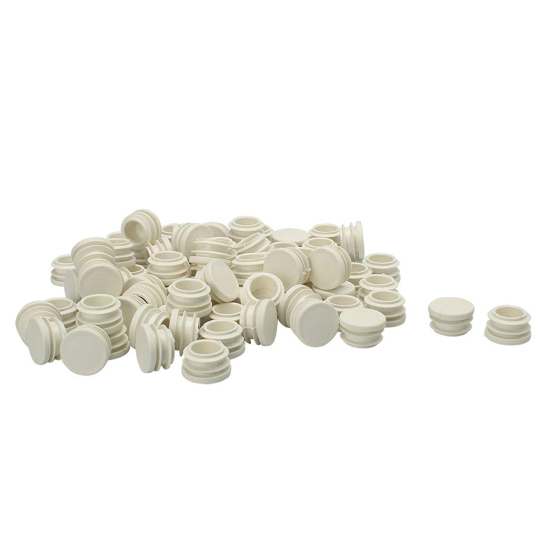 uxcell 7/8'' 22mm OD Plastic Round Ribbed Tube Inserts Pipe End Cover Cap White 80pcs, 0.75''-0.83'' Inner Dia, Furniture Chair Table Feet Floor Protector