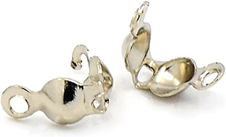 Closed Ring Gold x 100 Clamshells BEAD TIPS Callotte