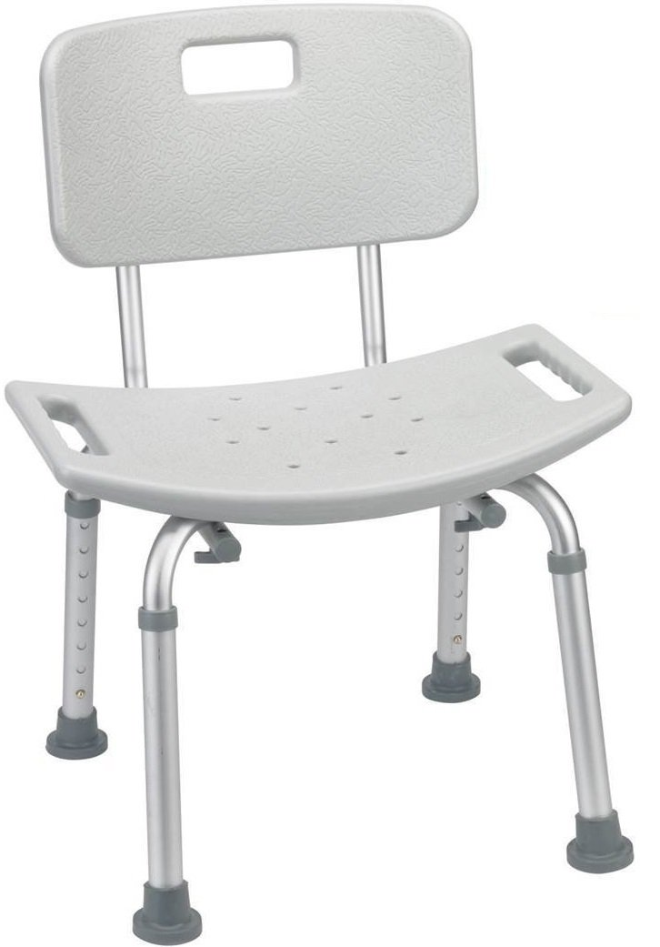 Benovate Height Adjustable Bathtub Shower Chair Seat Bench with Removable Back, Medical Shower Stool - Tool-Free Assembly