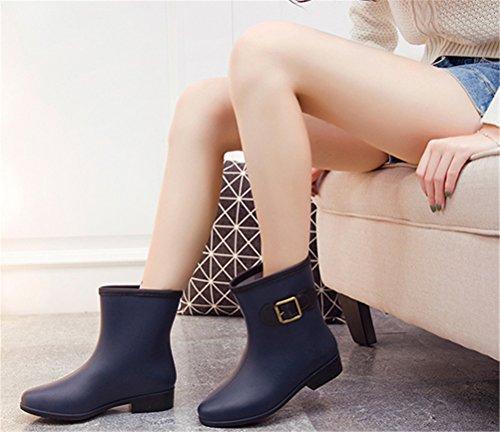 SHOCK Waterproof Cute Blue Rain on Footwear Rain Women Mid Calf Navy Antiskid Boots Pull ACE agqZWdg