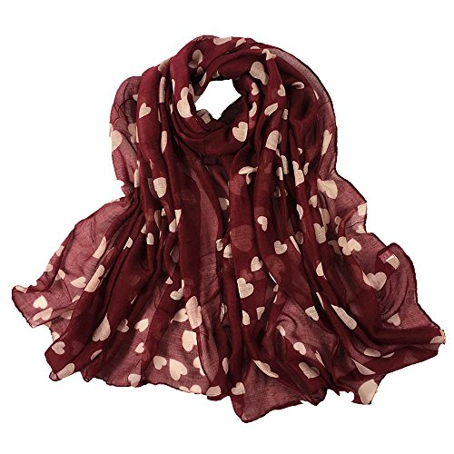 MaxFox Paris Women Gauze Long Soft Yarn Scarf Printing Love Wrap Stole Pashmina Shawl Scarves - Gauze Cashmere