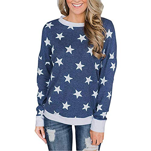 - Hosamtel Women Fashion T-Shirt Long Sleeve O-Neck Star Print Pullover Sweatshirt Casual Blouse Shirt Tunic Tops