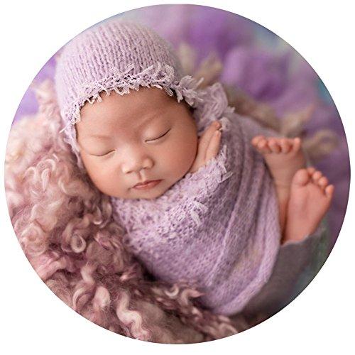 Baby Photography Props Blanket Newborn Photo Shoot Outfits Infant Photos Mohair Lace Hat Wrap Set (Purple)