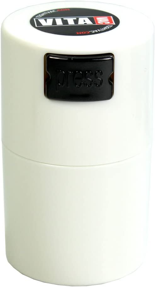 Vitavac - 5g to 20 grams Airtight Multi-Use Vacuum Seal Portable Storage Container for Dry Goods, Food, and Herbs - White