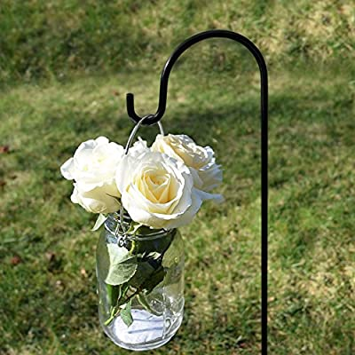 GrayBunny Shepherd Hook, 35 inch Black, Set of 4 Solid (Non-Hollow) Single Piece (No Assembly), Strong Rust Resistant Premium Metal Hanger For Weddings Plant Baskets Solar Lights Lanterns & Mason Jars : Garden & Outdoor