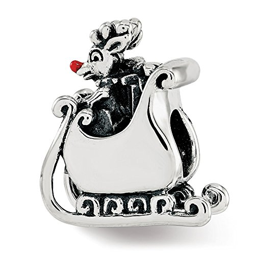 (Jewelry Beads Enameled Beads Sterling Silver Reflections Enameled Rudolph in Sleigh Bead)