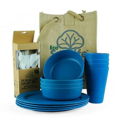 EcoSouLife Biodegradable Eco Dine Set - (4x plates, 4x cup, 1x bowl)