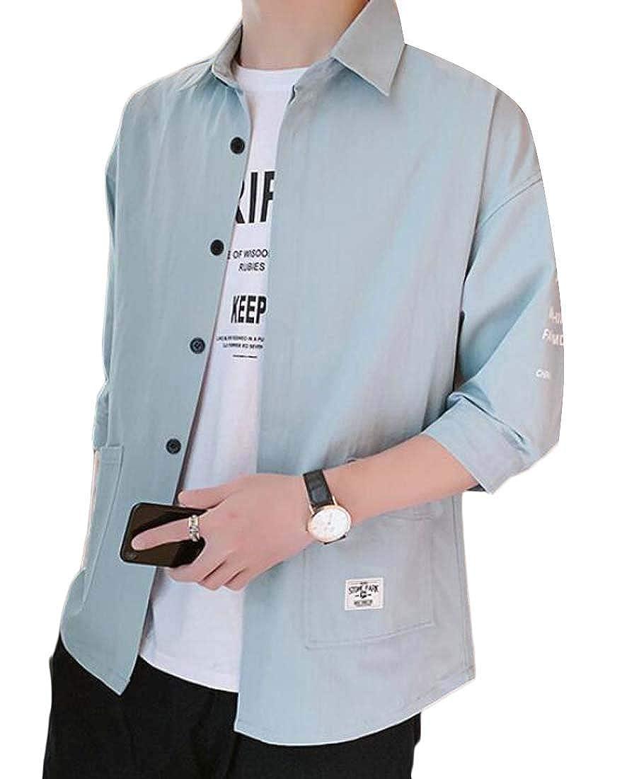 Domple Men Pockets Button Down Loose Casual Short Sleeve Button Down Dress Work Shirt