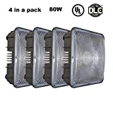 KCCCT 4 Pieces 80W Canopy LED Light Indoor Outdoor Replace HID 350W 5000K Daylight 8000Lumens Die Cast Aluminum Shell Waterproof IP65 Security Gas Station Warehouse Store Ceiling lamp Fixtures