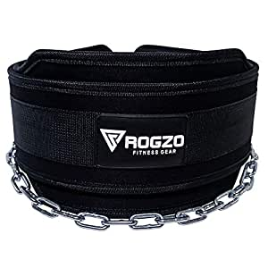 """ROGZO Weighted Dip Belt with 36"""" Heavy Duty Steel Chain - Best Double Stitched Neoprene Dipping Pull Up, Chin Up Belt for Your Bodybuilding & Weightlifting Exercises (Black)"""