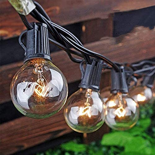 Outdoor String Lights, Yuusei 100Ft G40 Patio Lights with 55 5W Clear Globe Bulbs 5 Spare , IP44 Waterproof Backyard String Light with E12 Socket Base, for Balcony Porch Deck, UL Listed