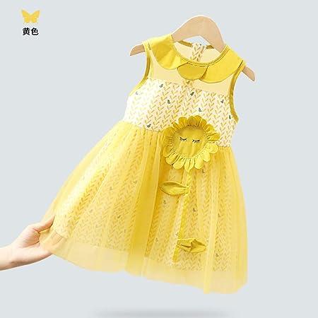 LYNNIE Vestidos Casuales sin Mangas de algodón para niñas pequeñas, Vestido de Flor para niñas pequeñas y Frescas de Verano para bebés de 1 a 5 años de Edad, Faldas,Yellow,130cm: Amazon.es: Hogar