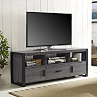 60-Inch Charcoal TV Stand Console (OS60CGS1CL). Features A Large Drawer, Two Side Cabinets And An Open Shelving System Finished In Powder Coated. Designed For TVs Up To 65 Inches Wide. - Black, Grey.
