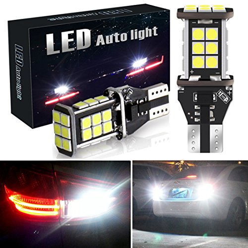 Botepon 1600 Lumens Extremely Bright 921 912 T15 Led Backup Lights Bulb, Error Free 3030 24-SMD Led Bulb for Car Led Backup Reverse Lights 12V 24V (Pack of 2)