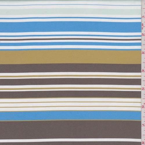 (Aqua/Mocha/Gold Stripe Satin Taffeta, Fabric by The Yard)