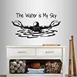Wall Vinyl Decal Home Decor Art Sticker The Water is My Sky Phrase Quote Swimming Girl Woman Swimmer Butterfly Swim Water Sport Sportsman Any Room Removable Stylish Mural Unique Design 94