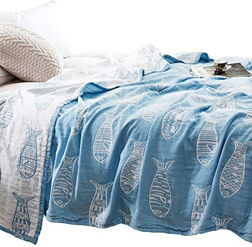 MEJU Fish Muslin Lightweight Summer Blanket for Bed Sofa Couch, 100% Combed Cotton 3 Layer Soft Warm Quick Dry Throw Blanket Bed Coverlet Sheet (Fish Blue, Twin 59