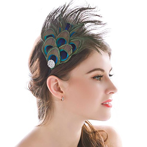Peacock Costume Headband (Nero Women's Handmade Peacock Feather Fascinator Headpiece, Fascinator Headband for Fancy Party by Aukmla,multi,Free Size)