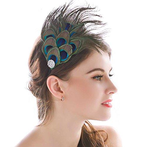 Nero Women's Handmade Peacock Feather Fascinator Headpiece, Fascinator Headband for Fancy Party by Aukmla,multi,Free Size